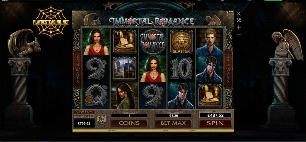 A huge win in the online slot is visible in this picture. Immortal Romance big win can be seen in this image.