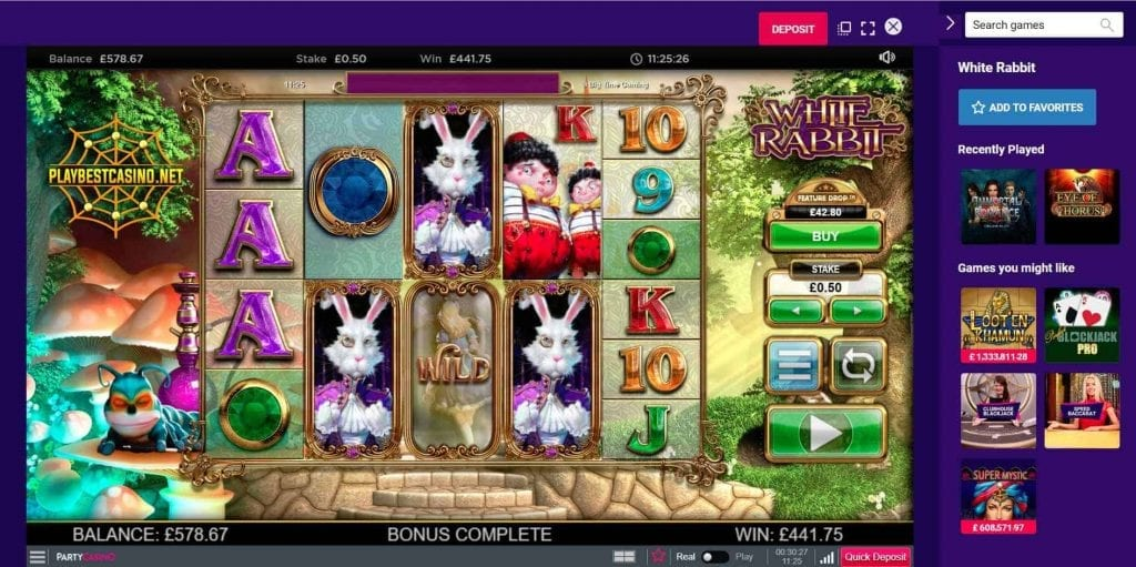 Big time gaming white rabbit big win can be seen in this image.