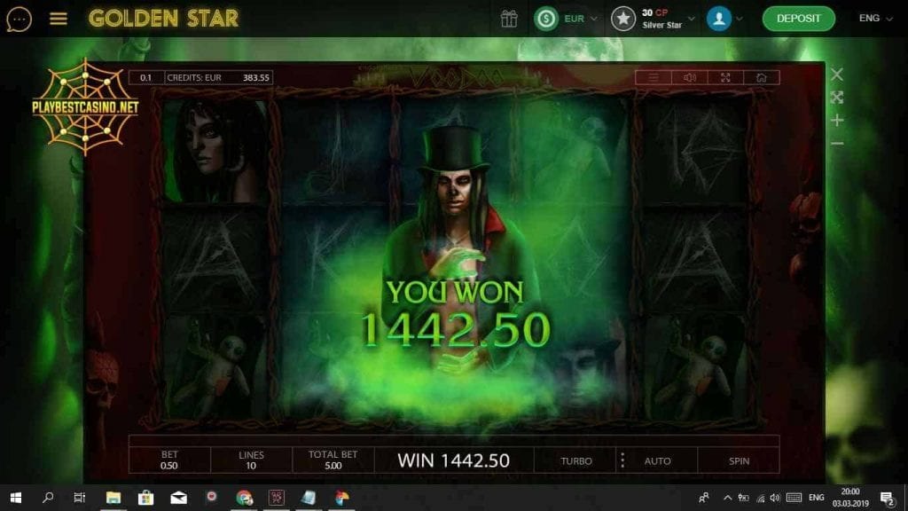 Golden Star Casino Voodoo Mega Win can be seen in this picture.
