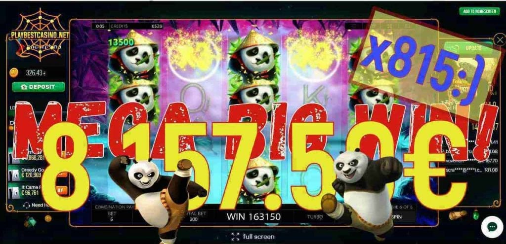 Little Panda from Endorphina casino slot a Big Win can be seen here.
