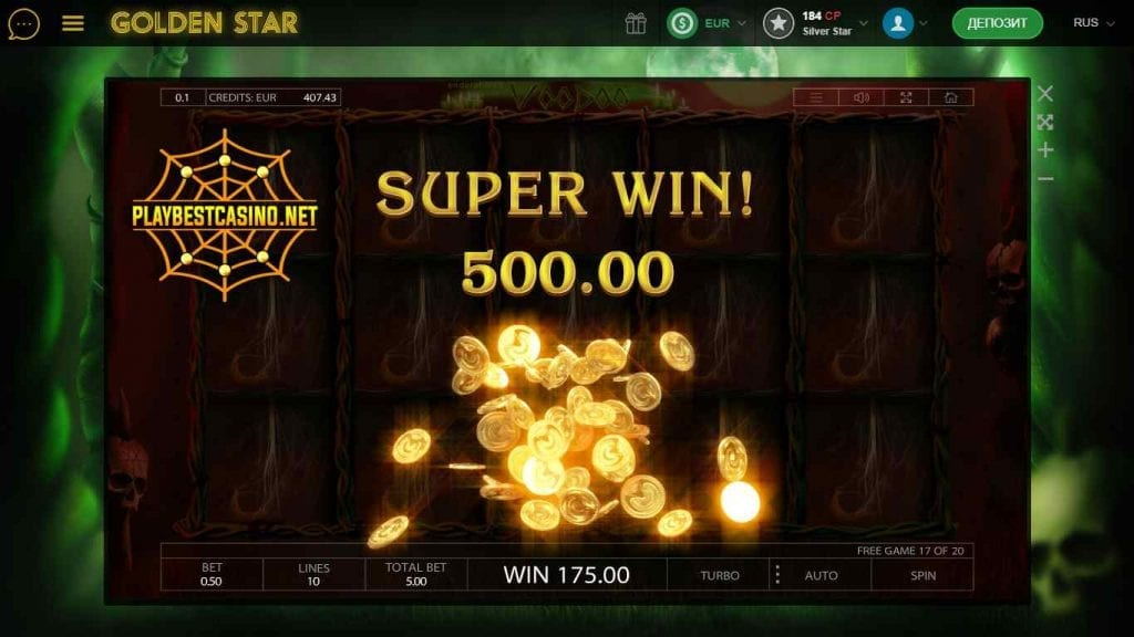 Golden Star Voodoo Big Win you can see in here.