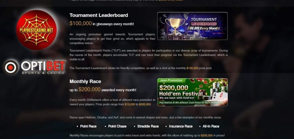 Optibet.lv and GGNetwork promotions can be seen in this image. Optibet.lv покер акции представлены на данном снимке.