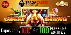 Trada Casino bonus can be seen in this photo.