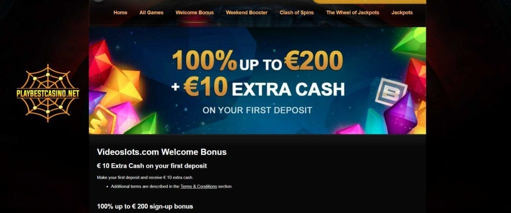 Videoslots welcome bonus can be seen in this image!