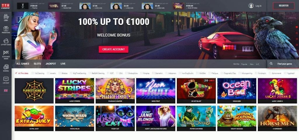 TTR Casino main page can be seen in this image.