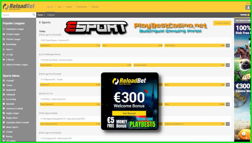 Casino ReloadBet Sports and E-spors bets are on photo.