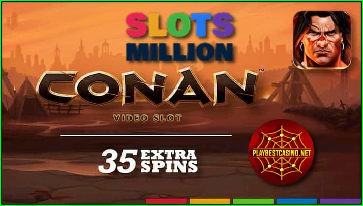 Free spins in the slot machine Conan from the provider NetEnt at Slotsmillion casino is in this photo