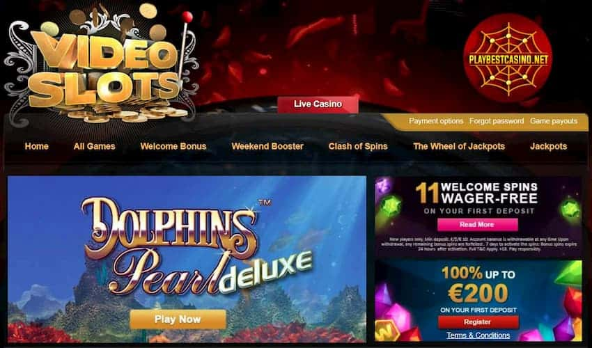 Videoslots Casino 11 Free Spins (Play No Deposit) No Wager can be seen on this image.