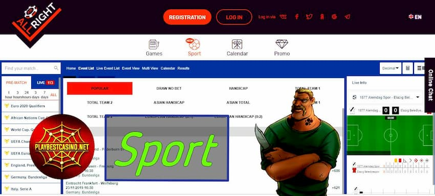 All Right Casino Sport (PlaybestCasino.net) can be seen on this image.