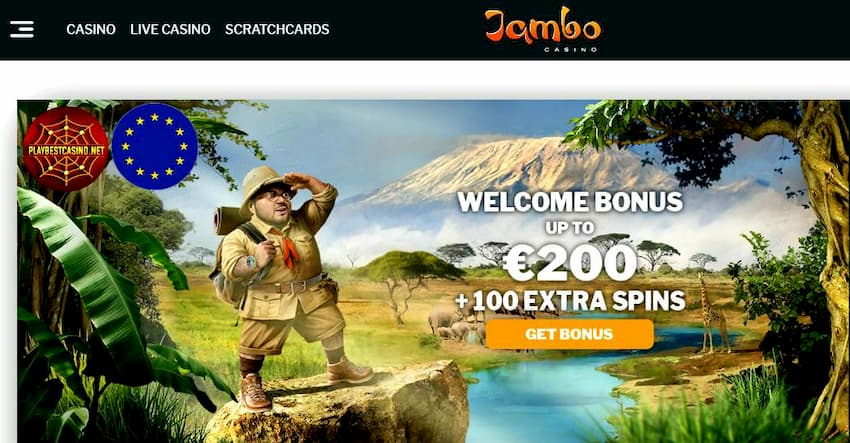 Jambo Casino (New 2019): Get €200+100FS Welcome Bonus can be seen on this photo.