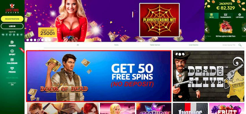 Lucky Bird Casino (Review 2020): Get 50FS «Book of Dead» (No Deposit) can be seen on this image!
