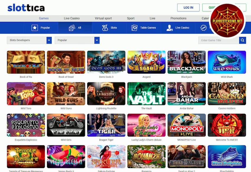 Slottica Casino Games and Providers are on this image.