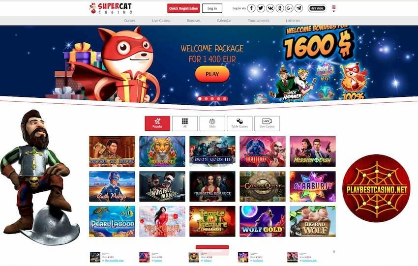 Design and functionality of the Super Cat casino can be seen on this image!