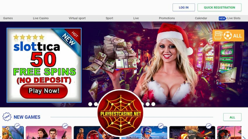 50 Free Spins No deposit Slottica casino can be see on this photo.