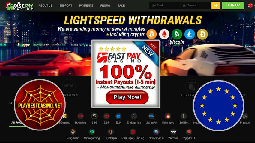 Fastpay casino bonuses can be seen on this image.