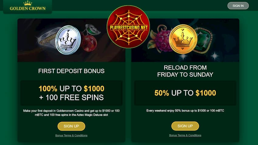Golden Crown Casino Bonuses can be seen on this image.