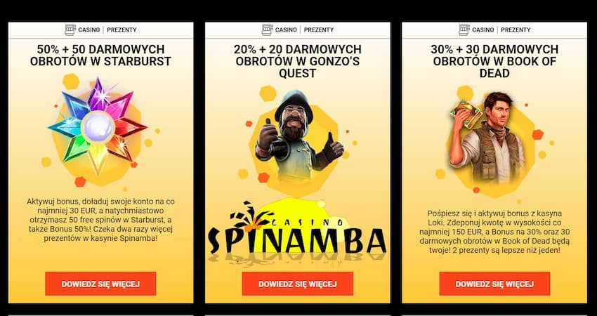 Nowe Kasyno Spinamba 50 Free spins No Deposit can be seen here.