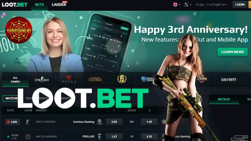 Loot.bet cyber sport crypto betting can be seen on this image.