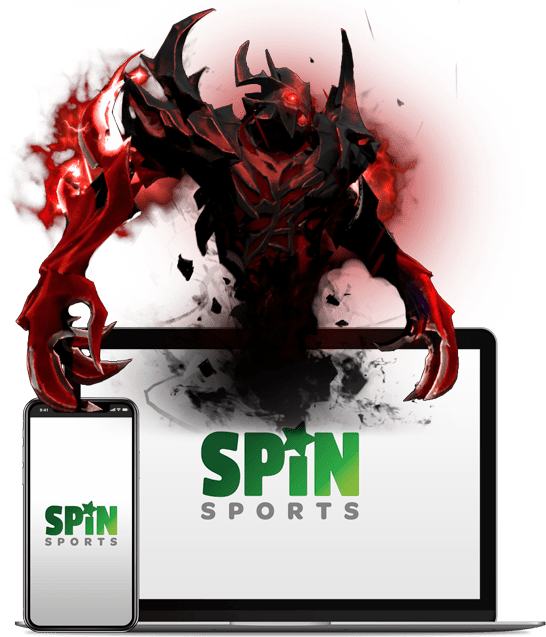 Spin Sports Dota 2 Logo for Playbestcasino.net can be seen on this photo.