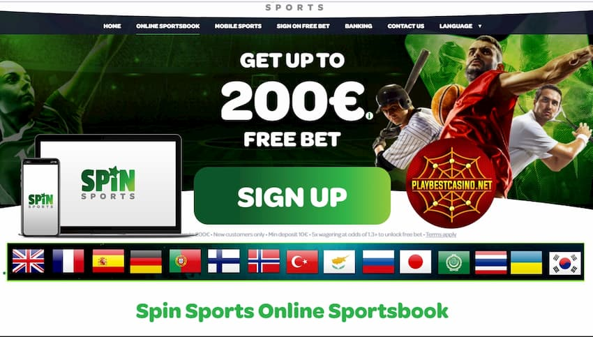 Spin Sports English Bonus Page can be seen on photo.