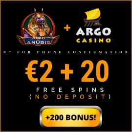 2 EURO +20 free spins no deposit argo casino fo playbestcasino.net is on photo.