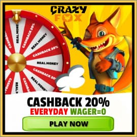 Cashback 20% Every Day at Crazy Fox Casino is on photo.