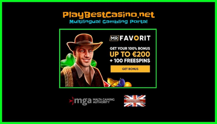mrFAVORIT casino welcome 100% Bonus and free spins is on photo.