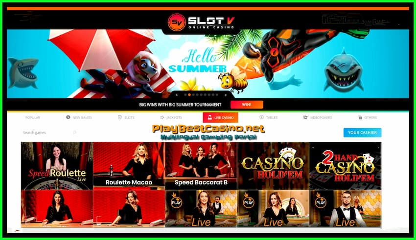 Live Casino Slot V is on photo.