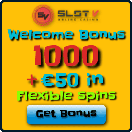 Slot V Casino Welcome Bonus and flexible spins are on photo.