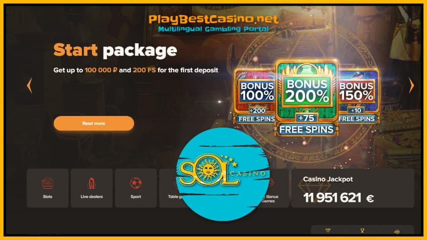 Welcome Bonuses Pack in SOL Casino are on photo.