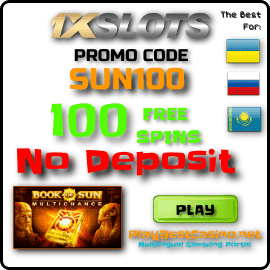 100 Free Spins No Deposit Promo Cde 1xSLOTS Casino for PlayBestCasino.net are on photo.