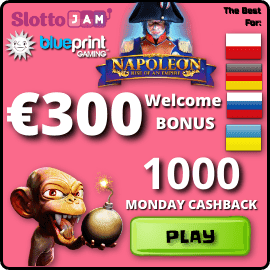 300 EURO Welcome bonus and 1000 euro Monday Cashback in SlottoJam Casino are on photo.
