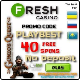 Promocode PLAYBEST 40 free spins in Fresh Casino for Playbestcasino.net is on photo.