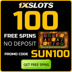 100 Free Spins No deposit in Game Book of Sun Multichance in 1xSLOTS Casino are on photo.