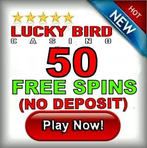 Lucky Bird Casino 50 free spins no deposit can be seen on this image.