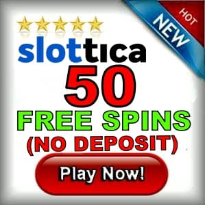 Slottica Casino 50 free spins no deposit can be seen on this image.