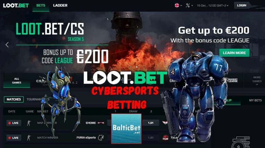 Loot.bet Sports and Cybersports betting can be seen on this image.