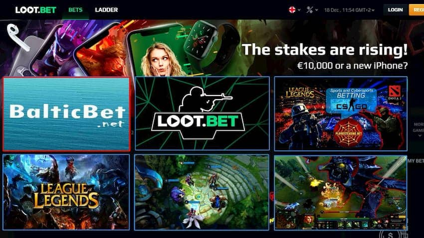 Loot.bet for balticbet.net (cybersports betting) can be seen on this image.