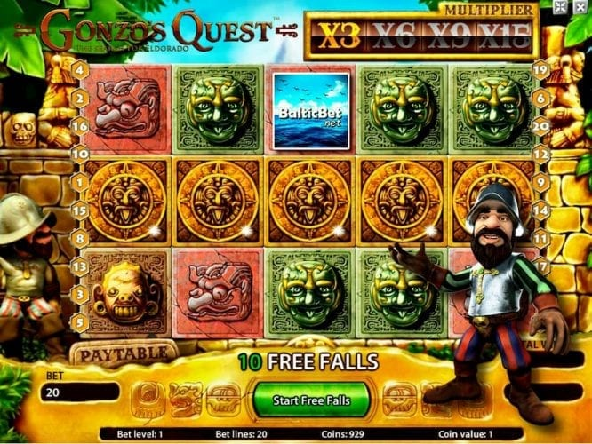 Gonzo's Quest Bonus Game Scatters can be seen on this image.