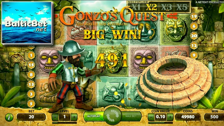 Gonzo's Quest slot can be seen on this image.