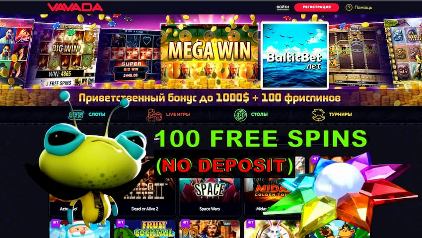 VAVADA Casino 100 Free Spins No Deposit can be seen on this image.