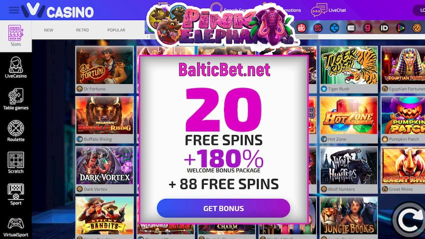 20 Free Spins and 180 Deposit Bonus in Ivi Casino for BalticBet.net are on this image.