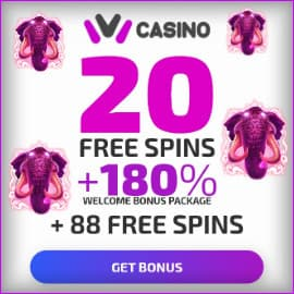 Ivi Casino (2020) 20 Spins Without Deposit + 180% Bonus is on photo.