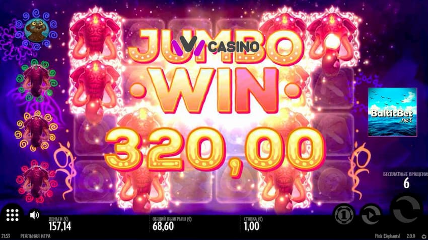 Ivi Casino Jambo Win Pink Elephants Slot Thunderkick by BaltiBet.net can be seen on this image.
