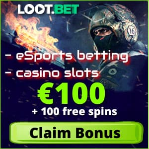 Loot.bet bonuses and free spins fo esport for Balticbet.net is on photo.