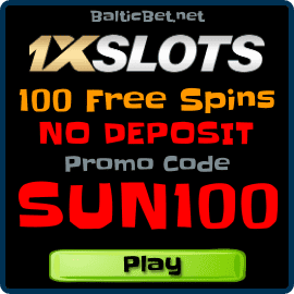 1XSLOTS 100 Free Spins No Deposit bonus for BalticBet.net is on photo.