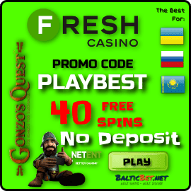 Promocode PLAYBEST 40 free spins in Fresh Casino for BalticBet.net are on photo.