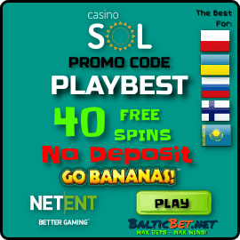 Promocode PLAYBEST 40 free spins in SOL Casino for BalticBet.net is on photo.