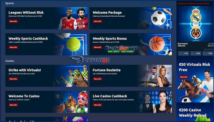 Sport and E-sports Betting in TornadoBet is on photo.