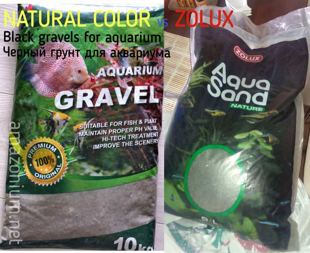 """Two bags with aquarium gravel from """"Zolux"""" and """"Natural colors"""" can be seen on this image."""